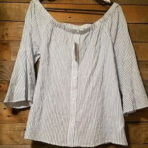 Michael Kors Off The Shoulder Pin Striped Blouse